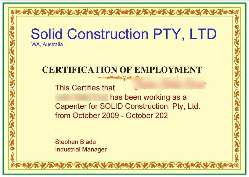 Doc585530 Employee Certificate Sample Employment Certificate – Certification of Employment Sample