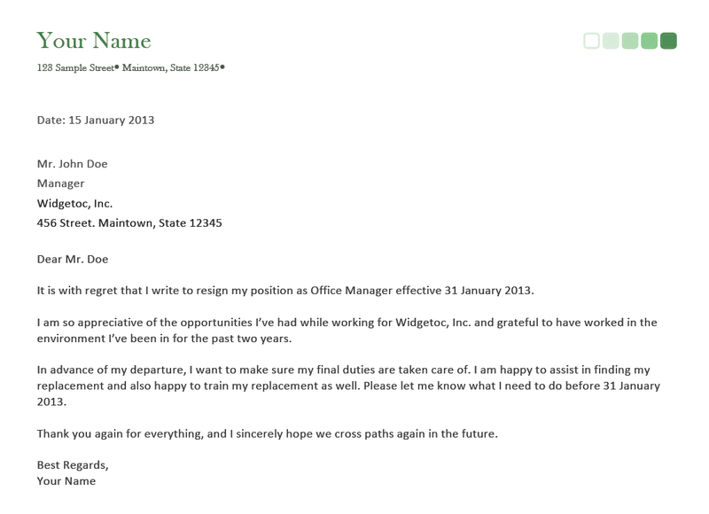 Resignation Letter example of an resignation letter : Resignation Letter on a Short Notice with Guidelines and Samples ...